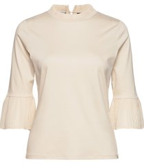 3/4 sleeve tee with pleated details blus långärmad creme scotch & soda