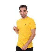 camiseta tommy hilfiger masculina essential tee amarela