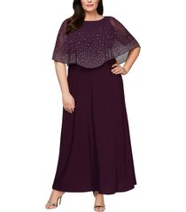 plus size women's alex evenings embellished popover gown