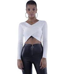 blusa pop me cropped tricô transpassado feminina
