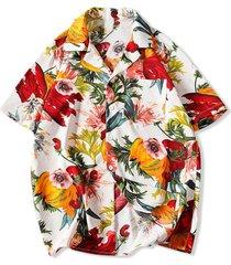 flower print pocket beach shirt