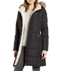 women's lauren ralph lauren quilted faux shearling lined down & feather parka