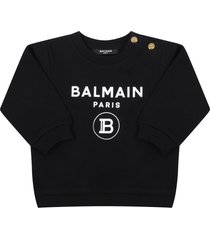 balmain black sweatshirt for babykids with logos