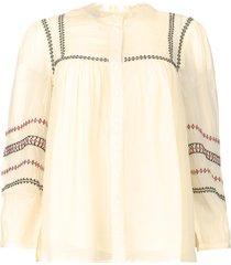 blouse met geborduurde details celeste  ecru