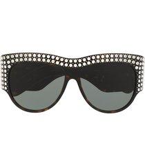 gucci eyewear interlocking g crystal-embellished sunglasses - brown