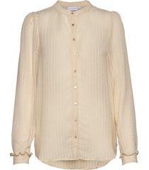longsleeved shirt w. frill at cuffs blouse lange mouwen crème coster copenhagen
