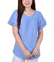 ny collection petite short double sleeve knit eyelet top