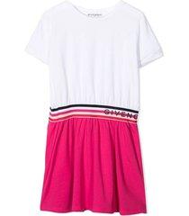 givenchy white and fuschia stretch-cotton dress