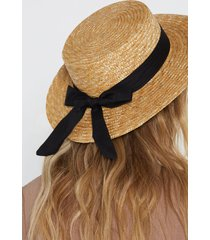 womens straw play bow hat - natural