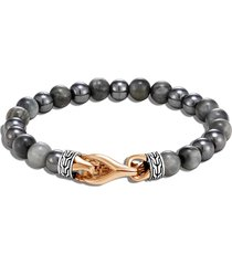 'asli classic chain' eagle eye hematite sterling silver bronze bead bracelet