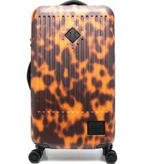 herschel supply co. tortoiseshell-print hard shell suitcase - brown