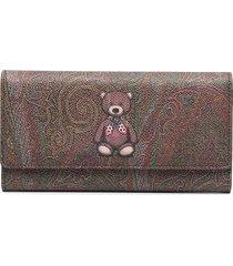 etro teddy bear-print leather wallet - brown