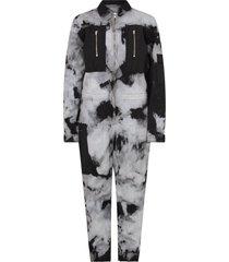 cinzia araia black and grey boy jumpsuit with tie and die prints