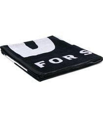 diesel toalha de praia de algodão com logo - preto