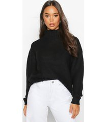 high neck oversized sweater, black