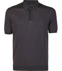 roberto collina grey cotton polo shirt