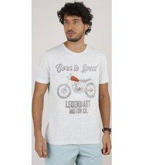 """camiseta masculina """"born to speed"""" manga curta gola careca cinza mescla"""