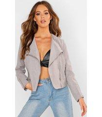 lightweight brushed biker jacket, grey