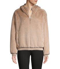 faux fur zip-front hoodie