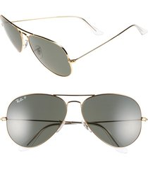 ray-ban 'aviator' polarized 62mm sunglasses in gold at nordstrom