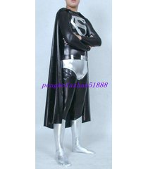 black/silver shiny metallic superman suit costumes with cape halloween suit s117