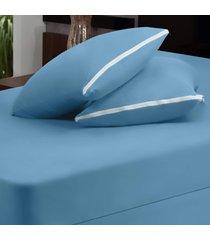 capa dourados enxovais para colchão azul casal padrão 03 peças - malha 100% algodão.