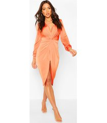 disco slinky twist front wrap dress, tangerine