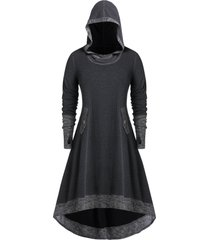 plus size hooded contrast trim high low long tunic sweatshirt