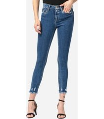 vervet mid rise aggressive veining uneven fray hem skinny crop jeans