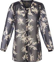 lange blouse met bloemenprint van anna aura zwart