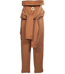 tied sleeves waist cargo trousers