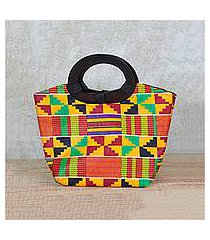 cotton handle handbag, 'festive kente spirit' (ghana)