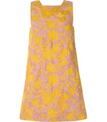 karen walker marigold floral-print mini dress - yellow