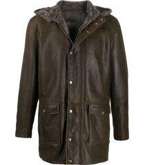 barba mid-length jacket - brown