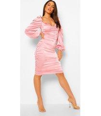 geplooide satijnen midi jurk met rug strik, rose pink