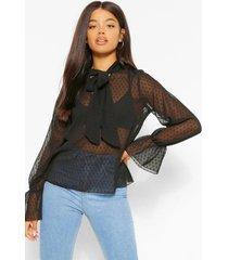 dobby mesh pussybow blouse, black