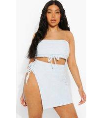 plus badstoffen bikini broekje met hoge taille, pastel blue