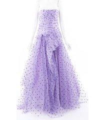carolina herrera purple strapless heart tulle gown black/purple sz: m