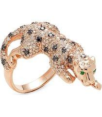 effy women's 14k rose gold, black & white diamond & emerald ring - size 7