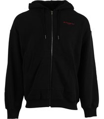 zipped hoodie jacket, black