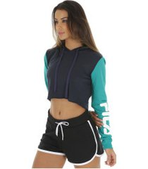 blusa cropped manga longa com capuz fila ease - feminina - azul esc/verde