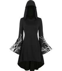 branch print hooded plus size high low dress