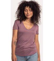 camiseta cora básico decote v modal feminina - feminino