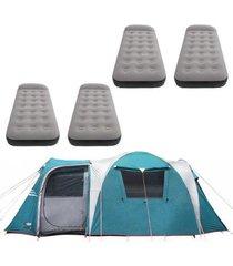 barraca camping nautika arizona gt 9/10 pessoas + 4 colchões solteiro inflável star aveludado