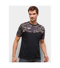 camiseta hd color block soldier camuflado masculina