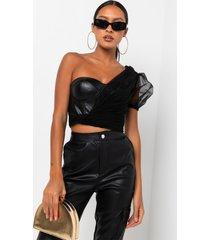 akira always sweet faux leather corset blouse
