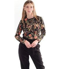 blusa para mujer con estampado floral, manga larga, tela fluida color-multicolor-talla-xxs
