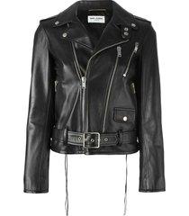 saint laurent classic biker jacket - black