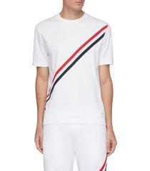 diagonal tricolour stripe cotton jersey t-shirt