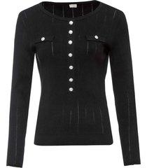 maglione a costine con bottoni dorati (nero) - bodyflirt boutique